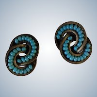 Vintage Earrings Turquoise Colored Stones Gold Tone Pierced Costume Jewelry