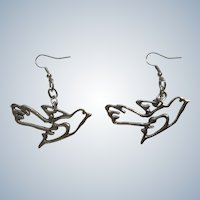 Silhouette Dove Birds Pierced Earrings Hook Costume Jewelry