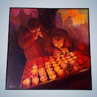O'Cordell, Catholics Praying at the Vigil Lights, Candles in the Church Original Oil Painting on Canvas Signed by Artist