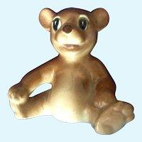 Occupied Japan Brown Bear Cub Sitting Ceramic Figurine