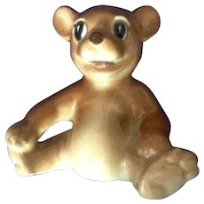 Vintage Happy Face Brown Bear Cub Sitting From Occupied Japan Ceramic Figurine