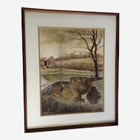 Art Whorton, Stream By Old Barn, Plein Air Landscape Watercolor Painting