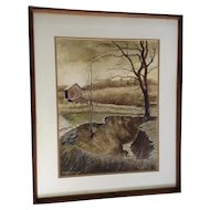 Art Whorton, Stream Near the Old Barn, Plein Air Landscape Watercolor Painting Signed by Artist