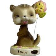 Josef Originals Smile Raccoon Bobblehead Nodder with Happy Flower Figurine Japan