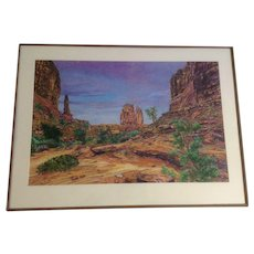 E. Michael Burrows, Desert Landscape of Saturated and Vibrant Color Mixed Media Signed by Artist