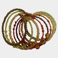 Vintage Beaded Bracelet 9 Loops Mixed Beads Costume Jewelry