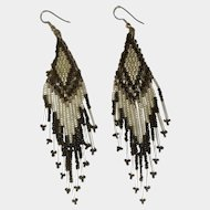 Vintage Black and Silver Tone Clear Beaded Pierced Earrings Costume Jewelry
