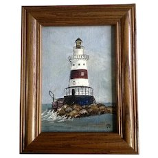 Red and White Maine Lighthouse 1969 Small Oil Painting on Canvas