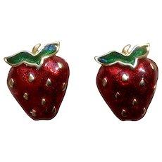 Cute Vintage Strawberry Pierced Costume Jewelry Earrings
