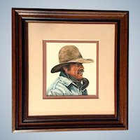 John Ralph Schnurrenberger WCA, Signed by Listed Canadian Artist, Figural Watercolor Painting Works on Paper, Cowboy in Jean Jacket and Felt Hat