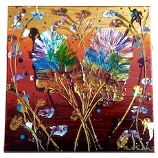 Pamela Sukhum, Original Mixed Media Painting, 'Bamboo Amongst Oaks,' Heart Floral Abstract Signed by Artist