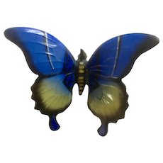 Rosenthal Porcelain Butterfly Moth Blue, Black and Yellow Figurine Karl Himmelstoss Limited Edition #4 Germany 1835