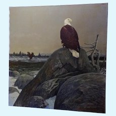 Donald L Malick (1929-1986) Bald Eagles at Dawn Landscape Acrylic Painting