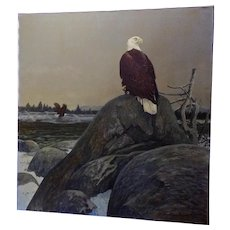 Donald L Malick (1929-1986) Wintering American Bald Eagles at Dawn Wildlife Landscape Acrylic Painting on Canvas Signed by Listed Colorado Artist