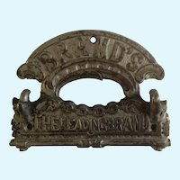 Antique Wood Stove Name Plate Oven Sign 'Brand's The Leading Brand' Cast Iron with Hooks