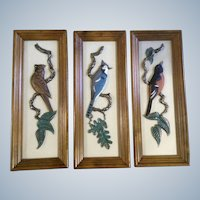 Mid-Century Bird Wall Art Plaques 3D Ideal Originals North American Blue Jay, Cardinal and Oriole 1965