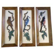 1965 3D Wall Art Plaques Ideal Originals North American Blue Jay, Cardinal and Oriole birds
