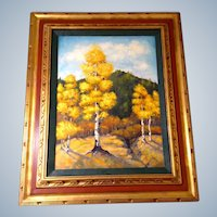 Elizabeth Kwaak Smischny (1936-1984) Golden Aspen Trees in Red and Gold Frame, Signed Listed Artist Oil Painting on Canvas