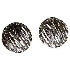 Vintage Trifari Silver Tone Fashion Clip Earrings Costume Jewelry