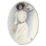 1901 Beautiful Woman Watercolor Works on Paper Initialed By Artist