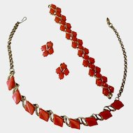 Vintage Pink Colored Necklace Bracelet Clip Earrings Costume Jewelry Set