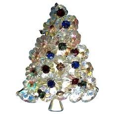 Gorgeous Vintage Christmas Tree Aurora Borealis Pin Costume Jewelry