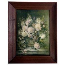 Lydia Dunham Smith Fabian (1857-1947) Still Life Floral Lithograph Behind Convex Glass