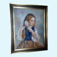 Pettebone, Portrait Figural Girl Brushing Hair Oil Painting