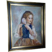 Pettebone, Oil Painting Portrait Figural Young Girl Brushing Hair Signed by Artist
