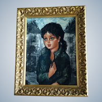 A. Daude, Big Eye Artist Girl With Black Hair Signed by Listed Artist, Oil Painting on Canvas