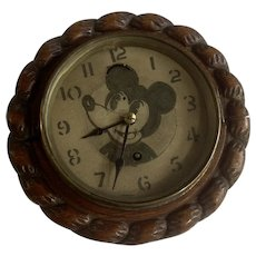 Rare Vintage Mickey Mouse Face Wall Clock Hand Carved Wood Manufactured British United Clock Company Limited Birmingham, England
