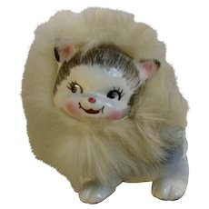 Bradley Kitty Cat with Feather Fur Figurine California Creations Ceramic Made in Japan 1959