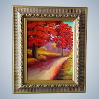 Red Maple Trees in the Fall, Original Landscape Oil Painting On Canvas Board, Signed by Artist, Ljungren
