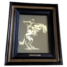 The Bronco Buster University of Wyoming 1978 Franklin Mint Silver Scene Sterling Silver Horse Rider