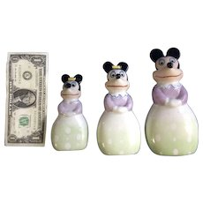 Rare Mid-Century Minnie Mouse Disney Ceramic Hand Painted Figurines