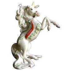 1988 White Unicorn Christmas Tree Ornament Enesco Taiwan Ceramic Figurine