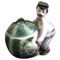 Man Gardner Lifting a Watermelon Ceramic Trinket Box Eastern European Figurine
