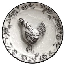 Bella Casa By Ganz Chicken Farm Black and White 3-D Hen Roster Motif Plate Wall Plaque