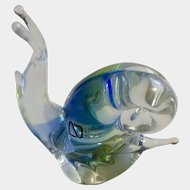 Vintage V. Nason & C Murano Glass Italy Snail Blue & Green Art Crystal Glass