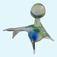 V. Nason & C Murano Glass Italy Seal With Ball, Blue & Green Art Crystal Glass Vintage