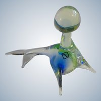 V. Nason & C Murano Glass Italy Seal With Ball, Blue & Green Art Crystal Glass Vintage