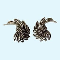 Charel Silver Tone Clip Earrings Costume Jewelry Vintage