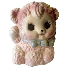 Vintage Rubens Originals Baby Pink Bear Planter 1039X Ceramic Figurine Made in Japan
