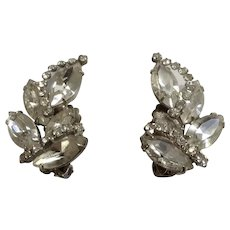 Vintage Weiss Faux Diamond Rhinestone Clip on Earrings Signed Costume Jewelry
