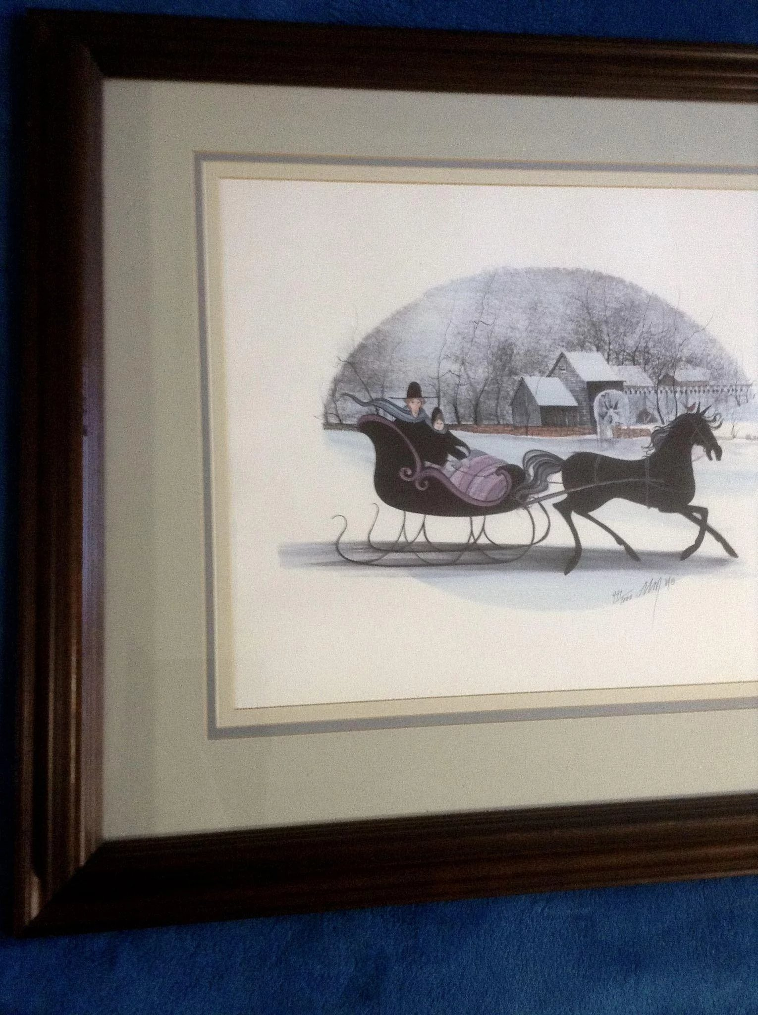 165314e00c7e8 P Buckley Moss Sleigh 'Frosty Ride' Rare Limited Edition Print Signed by  Listed Artist
