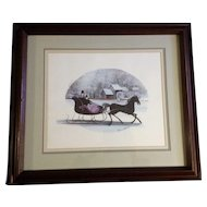 P Buckley Moss Sleigh 'Frosty Ride' Rare Limited Edition Print Signed by Listed Artist