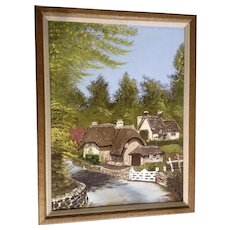 Howard Rutherford, Naive Landscape Oil Painting, Thatched Stone Houses Signed by Artist