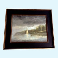 Alessandro, Oil Painting Sailboat at Shoreline Signed