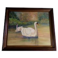 Carl Johnson Beautiful Oil Painting Two Swans at Sunset Landscape Signed by Artist