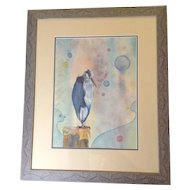 """Judith Picone Stork on a Post, Original Works on Paper Watercolor Painting Signed by Washington Artist, Titled, """"Is it My Birthday? (Judith's Dream)"""""""